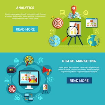 Conjunto de banners de digital analytics