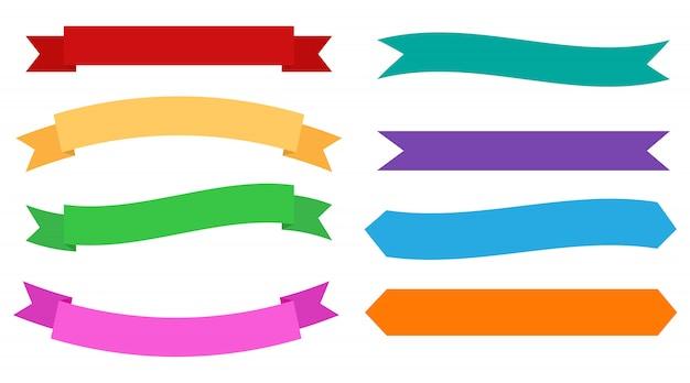 Conjunto de banners de diseño de cintas de colores