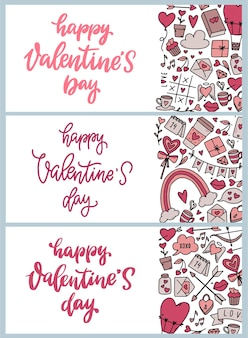 Conjunto de banners para el diseño del día de san valentín.