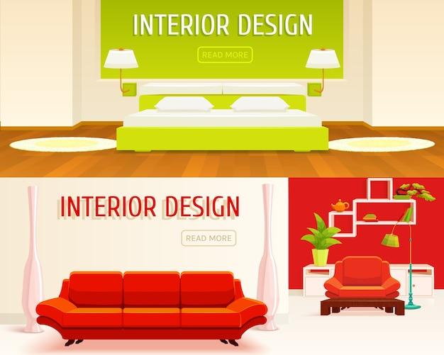 Conjunto de banners de diseño de interiores