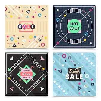 Conjunto de banners de diseño de material cuadrado con composiciones de letreros decorativos ornamentales planos.