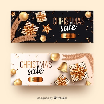 Conjunto de banners dorados de navidad