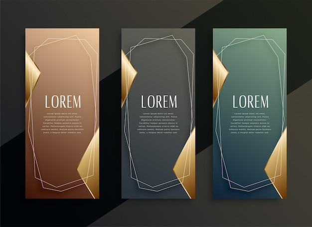 Conjunto de banners dorados verticales de lujo vintage