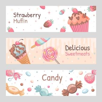 Conjunto de banners de dulces. ilustraciones de caramelos, helados, muffin de fresa