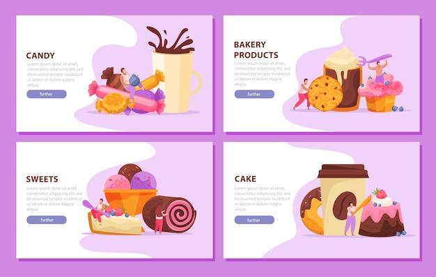 Conjunto de banners de dulces, panadería y personas.