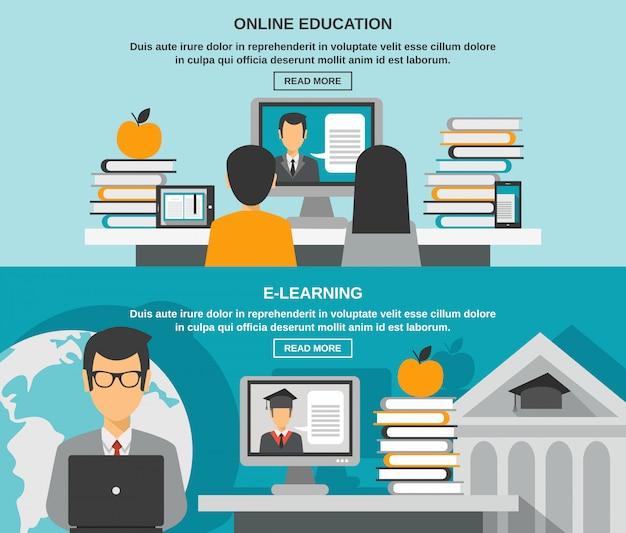 Conjunto de banners de e-learning