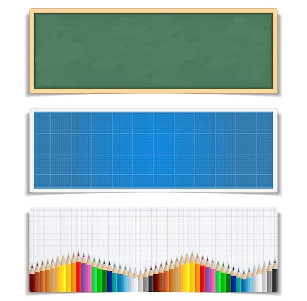 Conjunto de banners educativos.