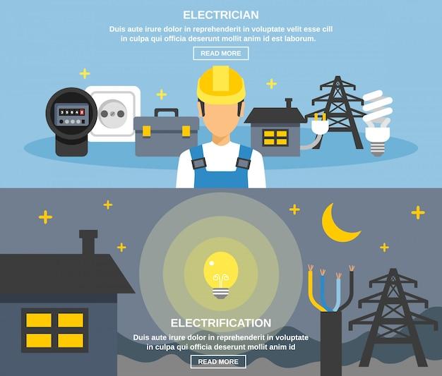 Conjunto de banners de electricidad y poder