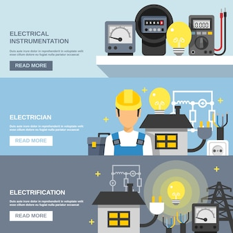 Conjunto de banners de electricidad