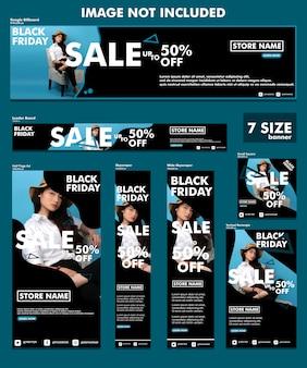 Conjunto de banners elegante de viernes negro