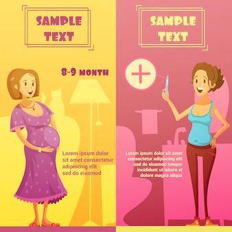 Conjunto de banners de embarazo del último trimestre y de prueba de tira con muestra de texto