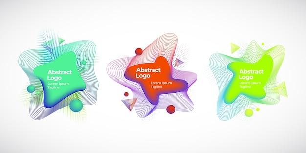 Conjunto de banners, emblemas o logotipos de líquidos geométricos vectoriales abstractos