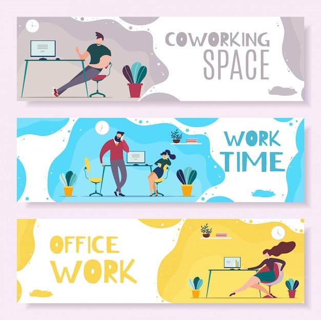Conjunto de banners de encabezado de tiempo de trabajo y administración de oficina