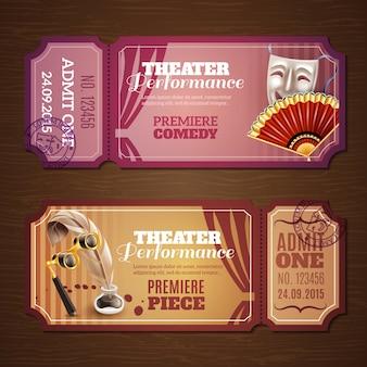 Conjunto de banners de entradas de teatro