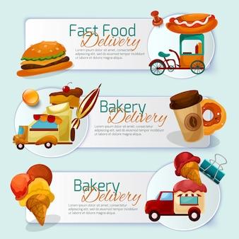 Conjunto de banners de entrega de alimentos