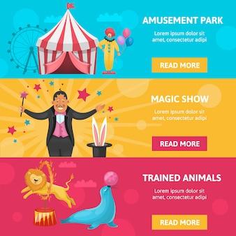 Conjunto de banners de entretenimiento de circo