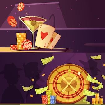 Conjunto de banners de equipamiento de casino