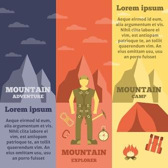 Conjunto de banners de equipo de escalador de montaña