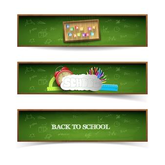 Conjunto de banners de escuela verde