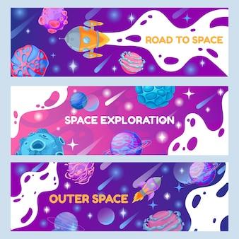 Conjunto de banners espaciales
