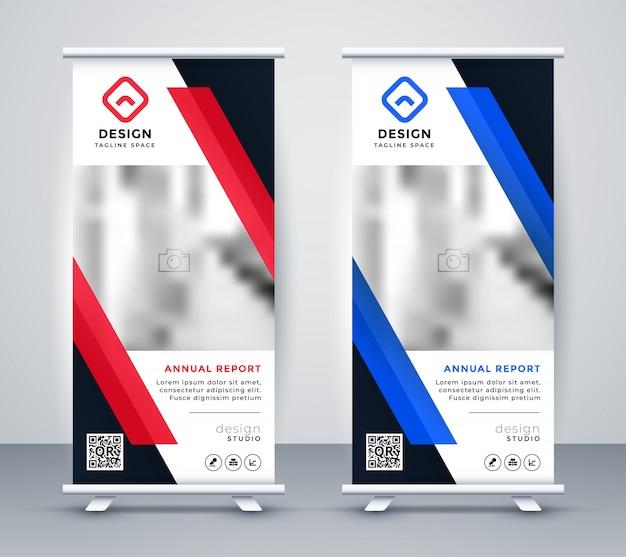 Conjunto de banners con estilo azul y rojo rollup