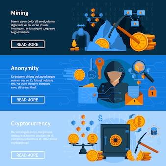 Conjunto de banners de estilo plano de moneda virtual