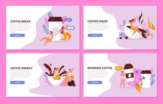 Conjunto de banners estimulantes de cafeína.