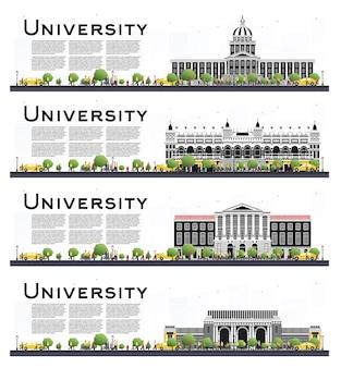 Conjunto de banners de estudio de campus universitario aislado en blanco. ilustración. los estudiantes van al edificio principal de la universidad