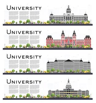 Conjunto de banners de estudio de campus universitario aislado en blanco. ilustración de vector. los estudiantes van al edificio principal de la universidad. horizonte con árbol verde. banner con espacio de copia.