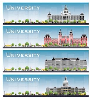 Conjunto de banners de estudio del campus universitario. ilustración. los estudiantes van al edificio principal de la universidad
