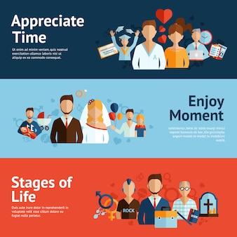 Conjunto de banners de etapas del concepto de vida