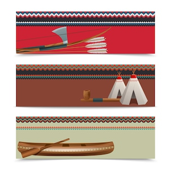 Conjunto de banners étnicos indios americanos