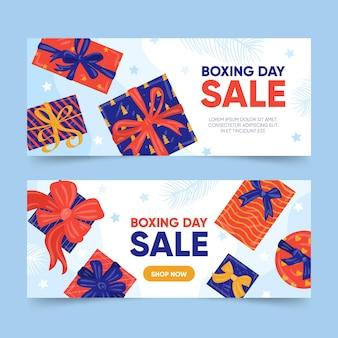 Conjunto de banners de eventos del día del boxeo