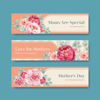 Conjunto de banners de feliz día de las madres