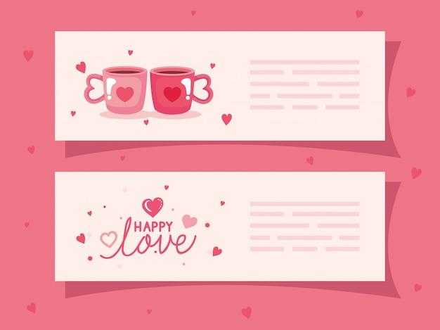 Conjunto de banners de feliz día de san valentín con decoración