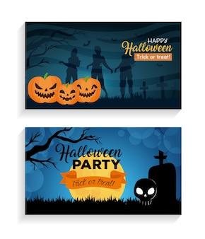 Conjunto de banners feliz halloween con decoración