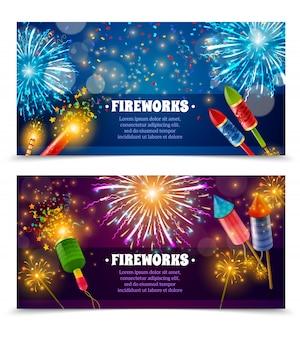 Conjunto de banners festivos de galletas de fuegos artificiales 2