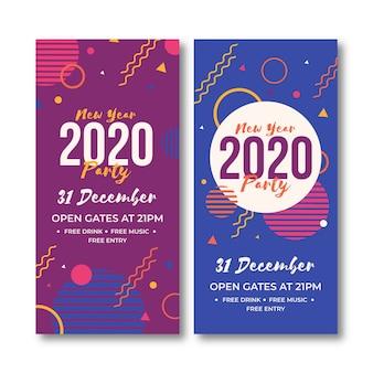 Conjunto de banners de fiesta abstracto año nuevo 2020