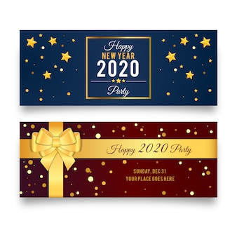 Conjunto de banners de fiesta de año nuevo 2020 de diseño plano