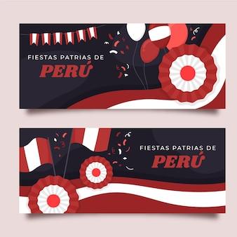 Conjunto de banners de fiestas patrias de peru dibujados a mano.