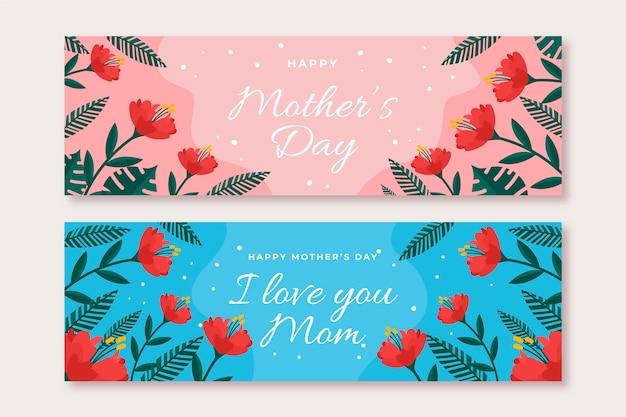 Conjunto de banners florales del día de la madre.