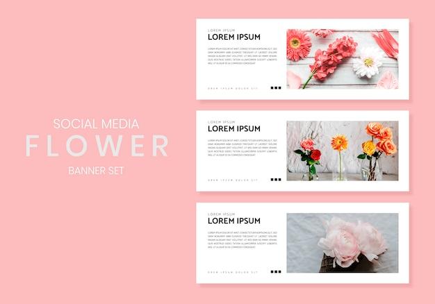 Conjunto de banners de flores de medios sociales