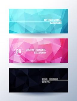 Conjunto de banners con fondo abstracto poligonal