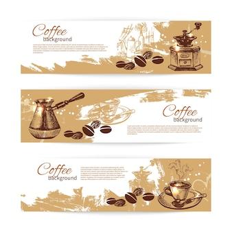 Conjunto de banners de fondos de café vintage. menú para restaurante, cafetería, bar, cafetería.