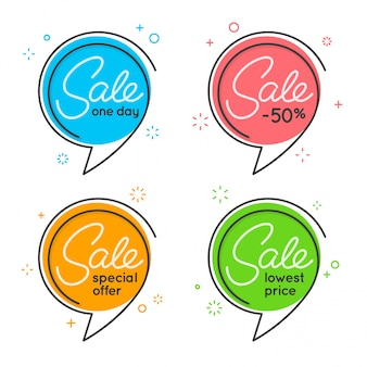 Conjunto de banners en forma de burbuja de discurso de círculo plano