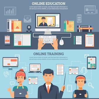 Conjunto de banners de formación de educación en línea