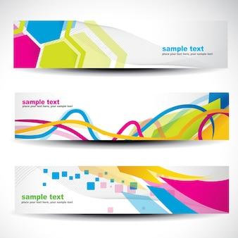 Conjunto de banners con formas modernas coloridos