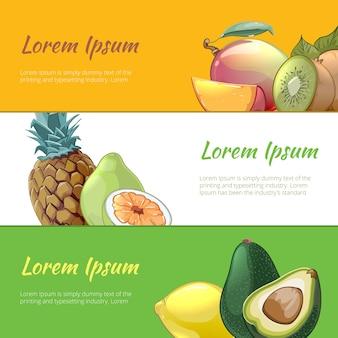Conjunto de banners de frutas jugosas. vitamina dulce natural, piña pera y postre ecológico