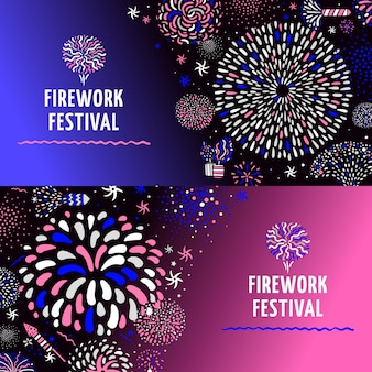 Conjunto de banners de fuegos artificiales festivos 2