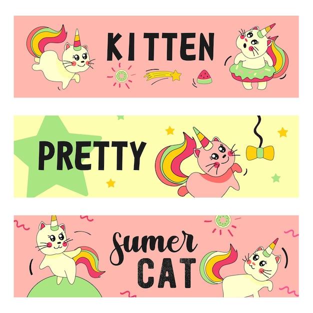 Conjunto de banners de gato unicornio. gatito de bebé de verano de divertidos dibujos animados con ilustraciones de cuerno y cola de arco iris